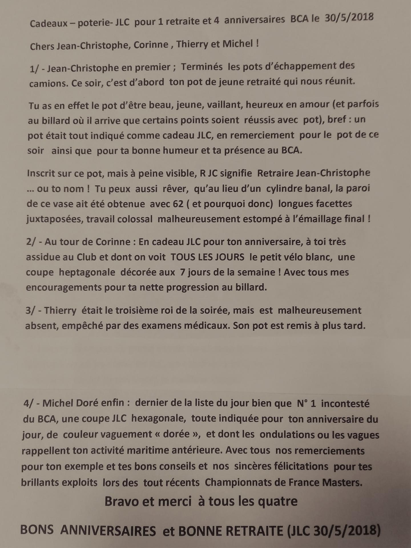 Anniversaire Coco Michel J C Et Retraite Mai 2018
